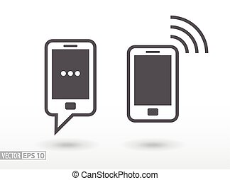 Mobile phone flat icon. Sign smartphone. Vector logo
