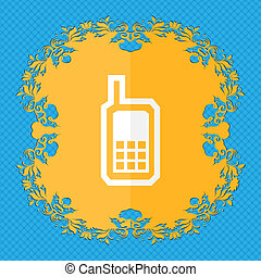 Mobile phone. Floral flat design on a blue abstract background with place for your text.