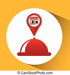 mobile phone food service shop locater vector illustration...