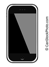 Generic touch screen cell phone, sleak black design with chrome trim.