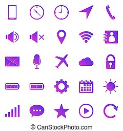Mobile phone gradient icons on white background