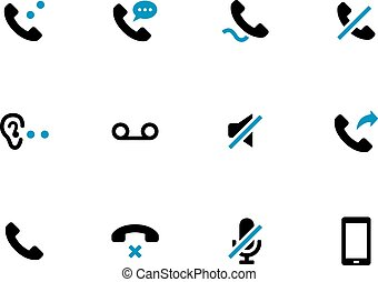 Mobile phone handset duotone icons on white background.