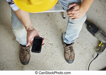 Mobile phone has been used by manual worker