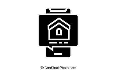 mobile phone house buy correspondence animated glyph icon. mobile phone house buy correspondence sign. isolated on white background