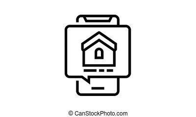 mobile phone house buy correspondence animated black icon. mobile phone house buy correspondence sign. isolated on white background