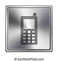 Mobile phone icon - Square metallic icon with carved design...