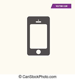 Mobile phone icon with blank screen.