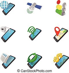 Mobile phone icons set, cartoon style