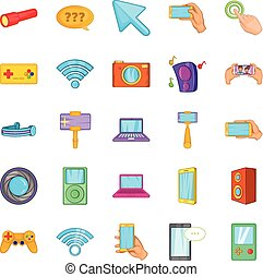 Mobile phone icons set, cartoon style - Mobile phone icons...