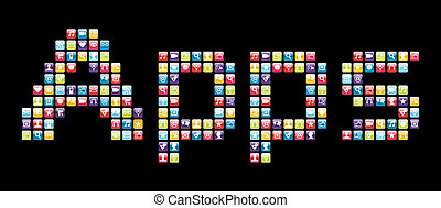 Mobile phone icons set in Apps word