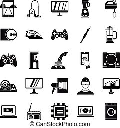 Mobile phone icons set, simple style - Mobile phone icons...