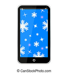 Mobile phone with christmas background on the screen