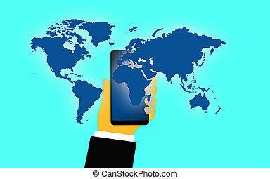 Mobile phone in a hand with world map
