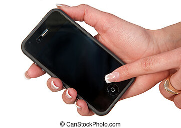 mobile phone in a woman's hand on an isolated background