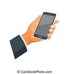 Mobile Phone in Hand Icon on White Background. Vector