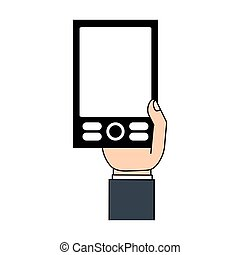 mobile phone in hand icon
