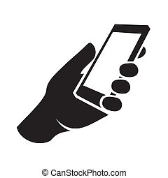 Mobile phone in hand icon. Vector illustration
