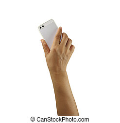 Mobile phone in hand isolated on white background.