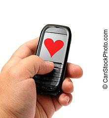 mobile phone in hand - mobile phone in man hand with heart...