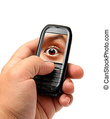 mobile phone in man hand with spy eye on screen