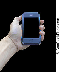 Mobile phone in hand on black background