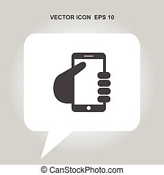mobile phone in hand vector icon
