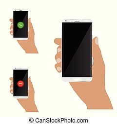mobile phone in man hand set illustration
