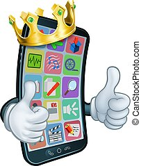Mobile Phone King Crown Thumbs Up Cartoon Mascot - A mobile...