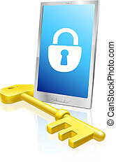 Mobile phone lock and key - Illustration of a mobile phone...