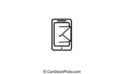 Mobile phone email concept 2d animation in simple outline style. Cellphone screen icon with mail notification for business newsletter, mailing or social network app in 4k quality.