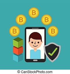 mobile phone man cartoon with bitcoin protection blockchain