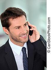 mobile-phone, mann, antworten