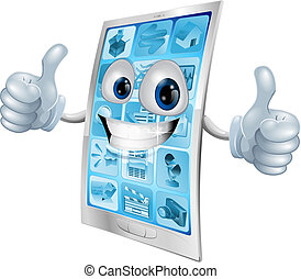 Mobile phone mascot double thumbs u - Illustration of a...