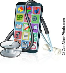 Mobile Phone Medical Health App Stethoscope Design