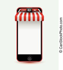 Mobile store concept with awning.