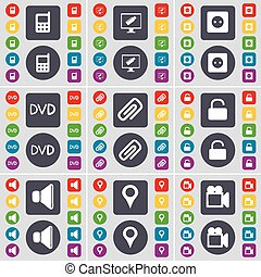 Mobile phone, Monitor, Socket, DVD, Clip, Lock, Sound, Checkpoint, Film camera icon symbol. A large set of flat, colored buttons for your design. Vector