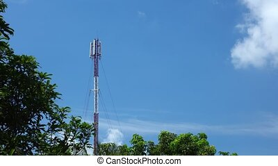 Mobile Phone Network Coms Tower With Cloudscape And Treetops...