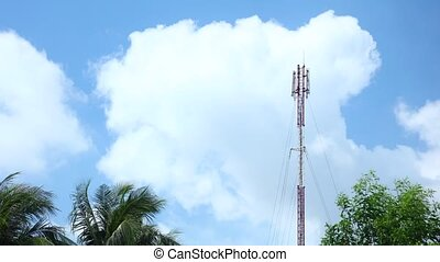 Mobile Phone Network Coms Tower With Cloudscape - Mobile...