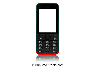 Mobile Phone old fashion style isolated on white background.