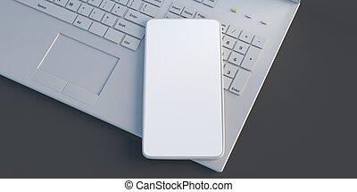 Mobile phone on a computer keyboard, black color desk, 3d illustration