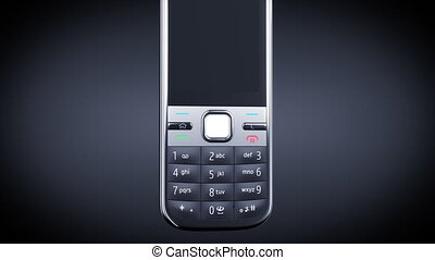 Mobile Phone turning on black background. HD 1080. Alpha mask included.