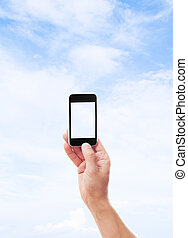 mobile phone on blue sky background