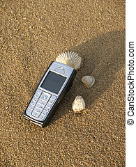 Mobile phone on the beach