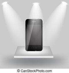 Mobile phone on white shelve on light grey background. Vector  illustration