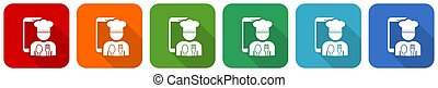 Mobile phone, online restaurant, chef icon set, flat design vector illustration in 6 colors options for webdesign and mobile applications