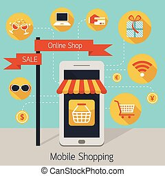 Mobile Phone Online Shop with Icons - Internet Connection,...