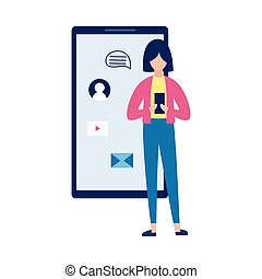 Mobile phone or social media addict with woman vector illustration isolated.