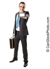 Mobile phone - an handsome businessman with a smartphone...