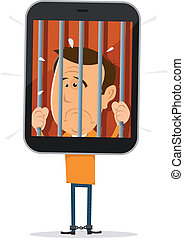 Mobile Phone Prisoner - Illustration of a cartoon unhappy...
