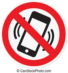 Vector illustration of mobile phone prohibited symbol, for theater or plane.